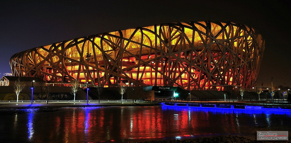 Bird's Nest Olympic Stadium - Beijing China -Night