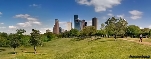 Cityscape Landscape, Memorial Park, Houston Texas, iPhone Pano, USA,